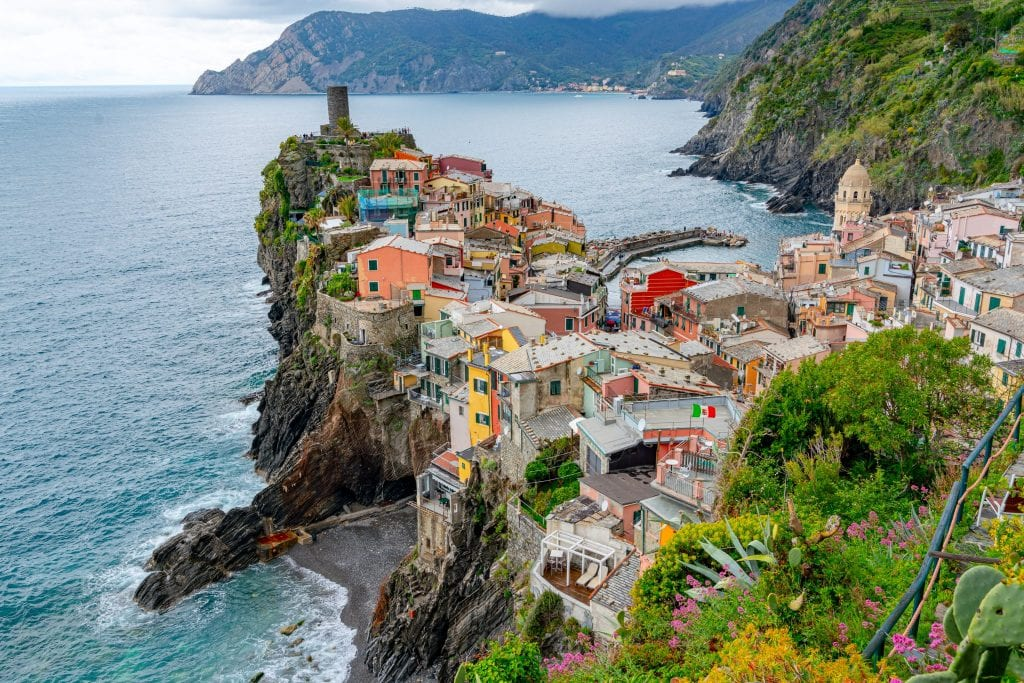 Photo of Vernazza from above--an essential viewpoint to find after traveling from Florence to Cinque Terre!