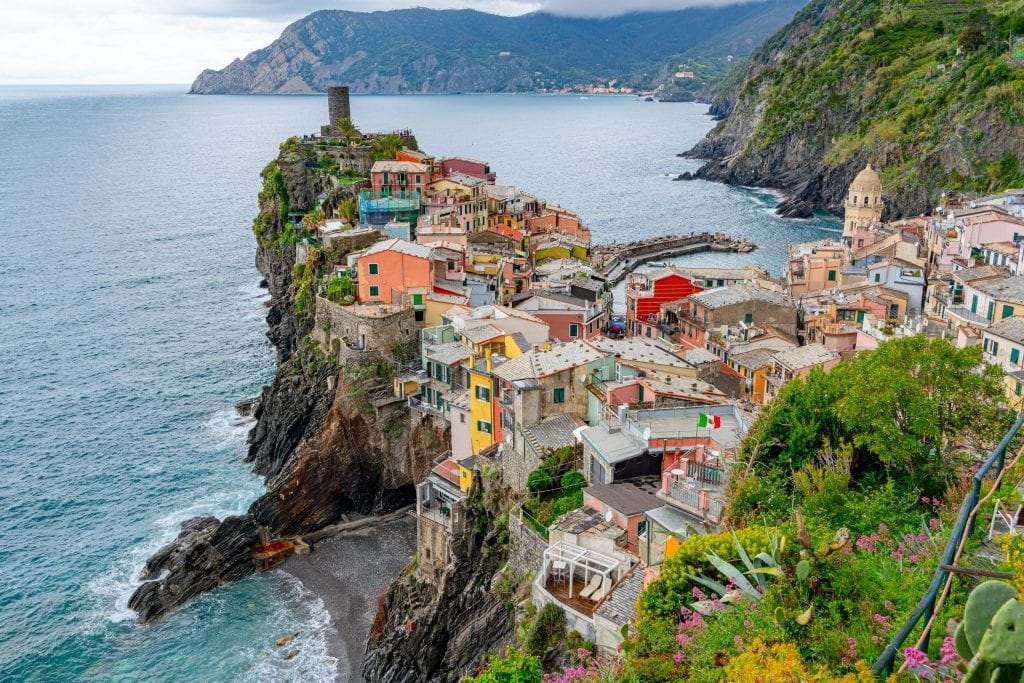 Photo of Vernazza from above, the perfect stop on a 2 week Italy itinerary