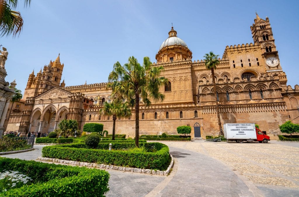 Palermo Cathedral as seen from across the street, a wonderful place to start your 10 days in Sicily itinerary