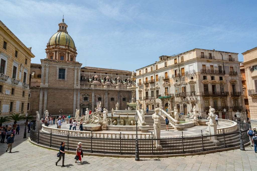 Pretoria Fountain of Palermo Sicily from above, one of the best places to visit in Sicily itinerary