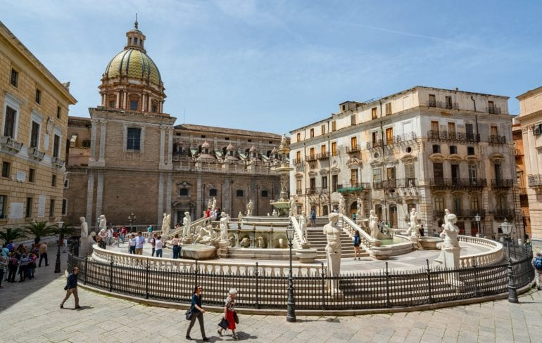 Pretoria Fountain from above: Best Things to Do in Palermo Sicily