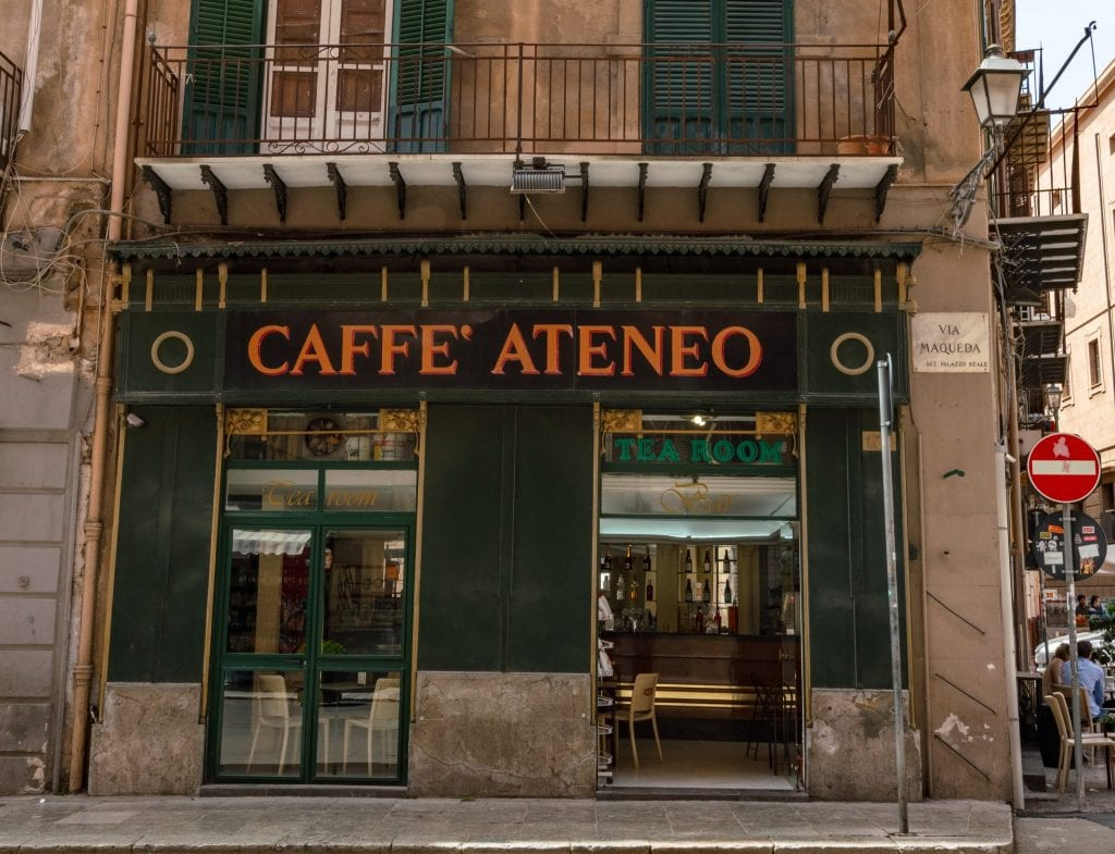 Photo of facade of Cafe Ateneo in Palermo, Sicily