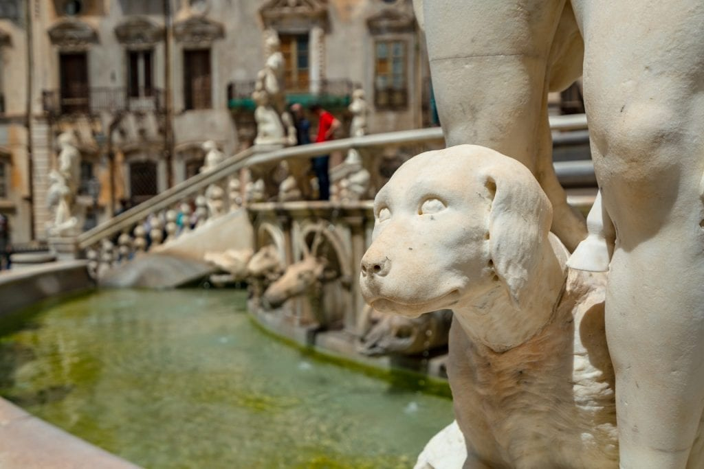 Close up of dog carving on Pretoria Fountain, Fun Things to See in Palermo