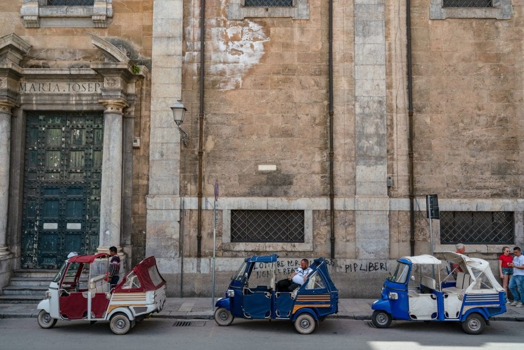 3 tuk tuks on the street in Palermo, Sicily