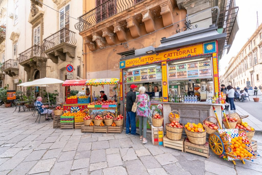 Orange juice stand in Palermo Sicily