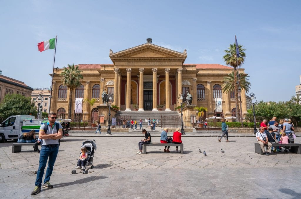 Teatro Massimo in Palermo as seen from the front--one of the most interesting facts about Sicily is that this is the largest opera house in Italy... by some measures!