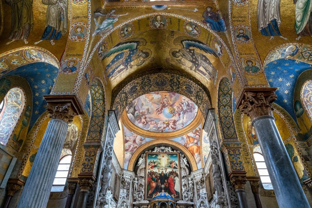 Mosaics on the ceiling of the Church of Martorana, Things to See in Palermo Sicily