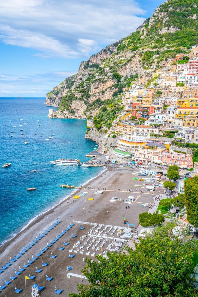 Positano and Positano Beach from above along the Amalfi Coast, one of the best road trips in Europe