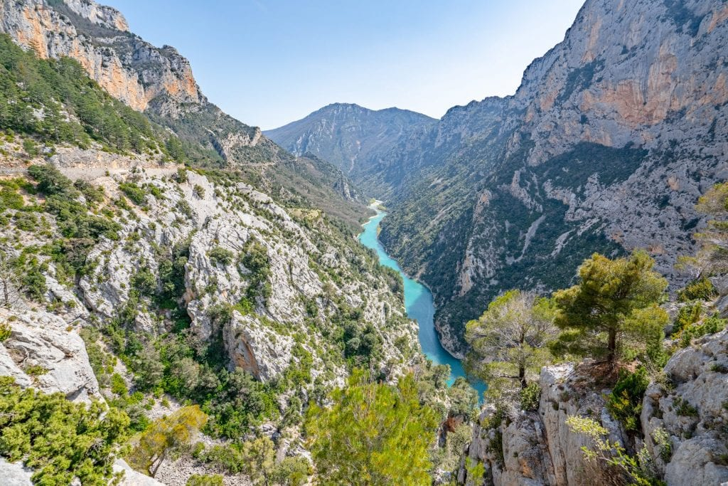 Verdon Gorge, France, taken from above--you can see the turquoise river in the center of the photo, far below the cliffs that take up most of the shot