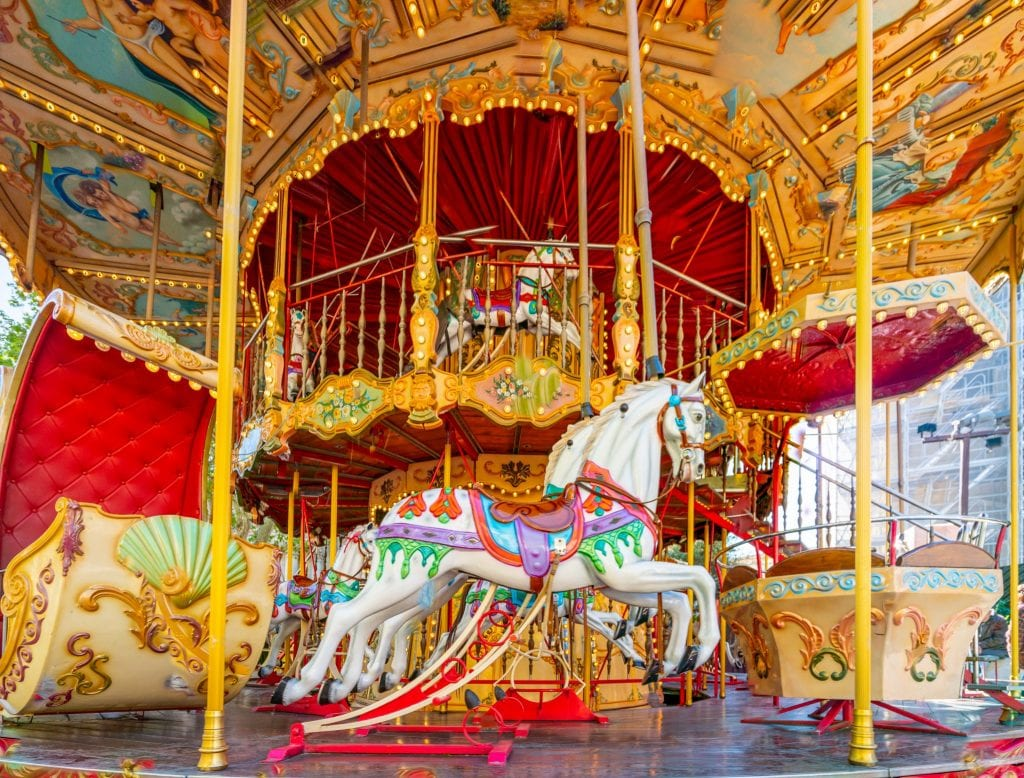 Close up shot of a Carousel in Avignon France--don't miss Avignon when making a Provence itinerary!