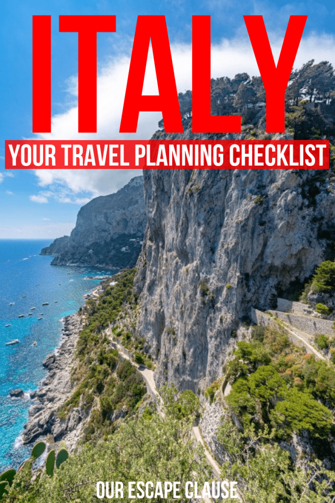 "Photo of the cliffs of Capri with text on it stating ""Italy: Your Travel Planning Checklist"". Links to a post about planning a trip to Italy. The text is red and white."