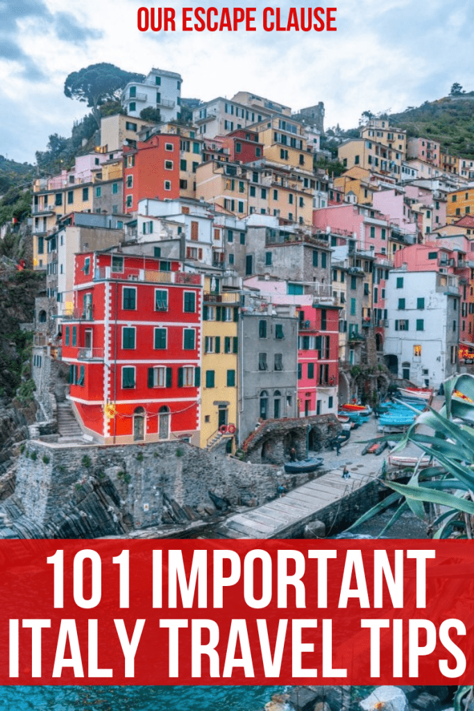"Photo of Riomaggiore, Italy, with text overlay that says ""101 Important Italy Travel Tips"" in front of a red background."