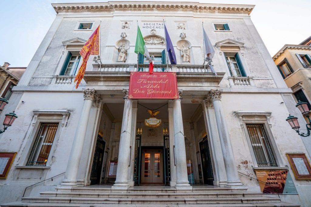Front facade of Teatro La Fenice in Venice
