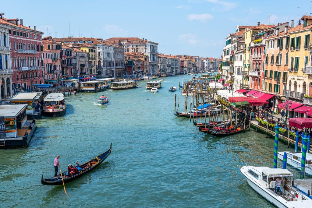 Photo of Venice's Grand Canal as taken from the Rialto Bridge, an iconic view to seek out during your week in Italy