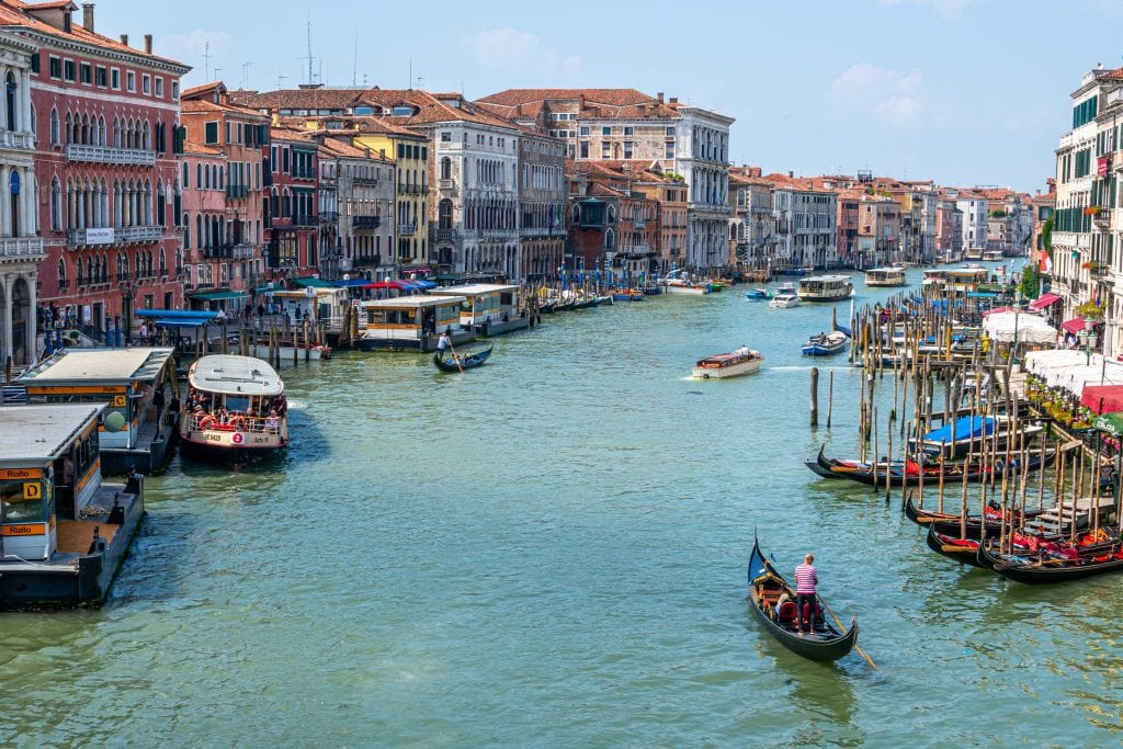 View of Venice's Grand Canal from the Rialto Bridge--this iconic spot is definitely home to one of the best views of Venice!