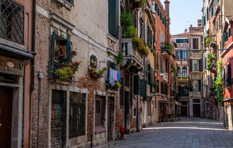 Quiet street in Venice, to be visited on this 2 week Italy itinerary