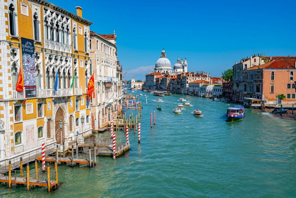 Photo of the Venice Grand Canal as seen from Ponte dell'Accademia