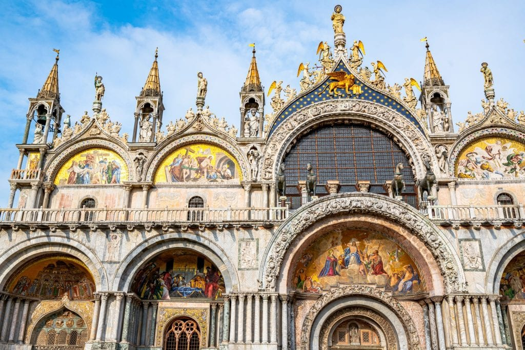 Close up of facade of St. Mark's Basilica in Venice