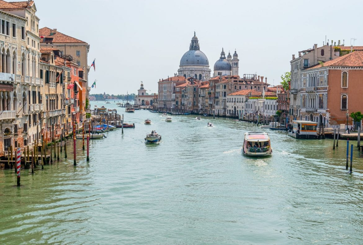 Grand Canal of Venice as seen from the Ponte dell'Accademia, one of the best Venice viewpoints!