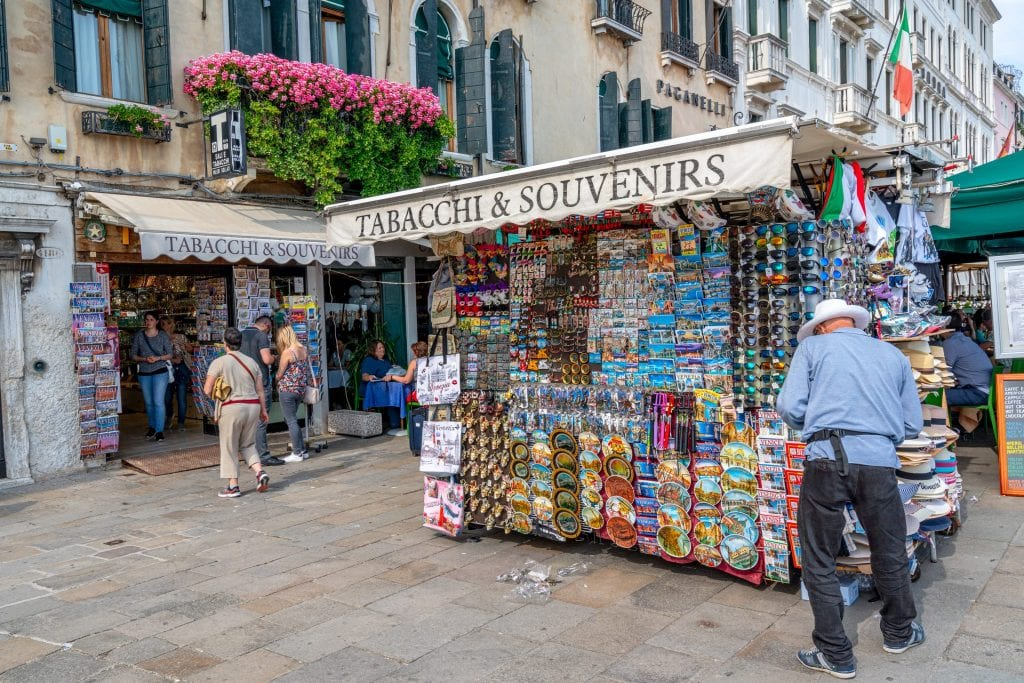Souvenir stand in Venice Italy