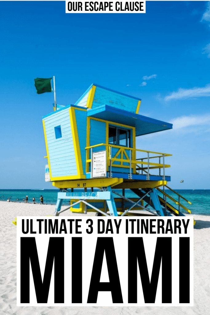 "Blue and yellow art deco lifeguard stand on South Beach in Miami. Black text on a white background reads ""Ultimate 3 Day Itinerary Miami"""