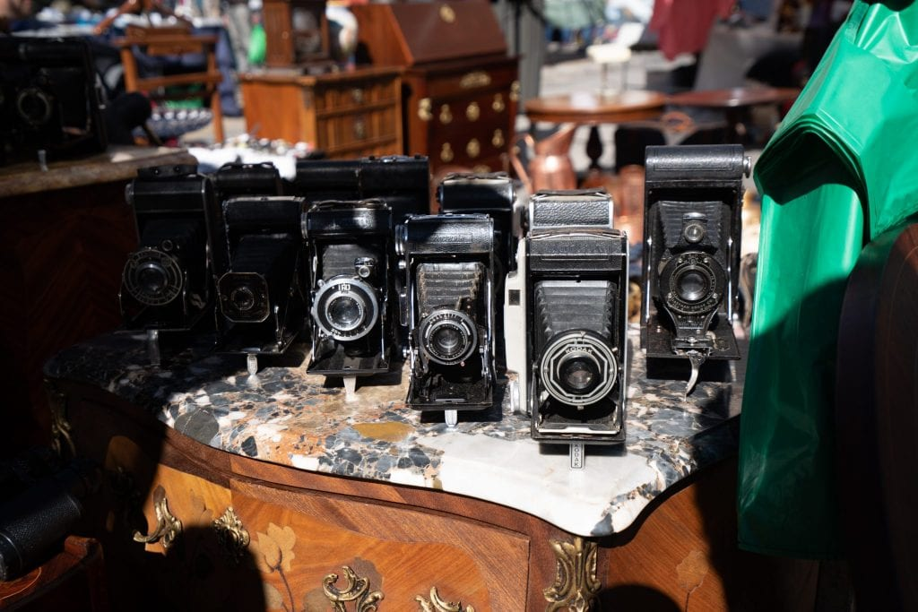 Classic cameras for sale at El Rastro in madrid Spain