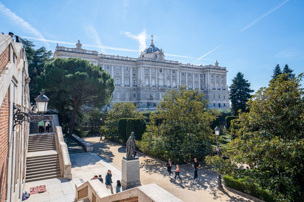 Madrid Royal Palace with garden in foreground, a must see during your 3 days in Madrid Itinerary!