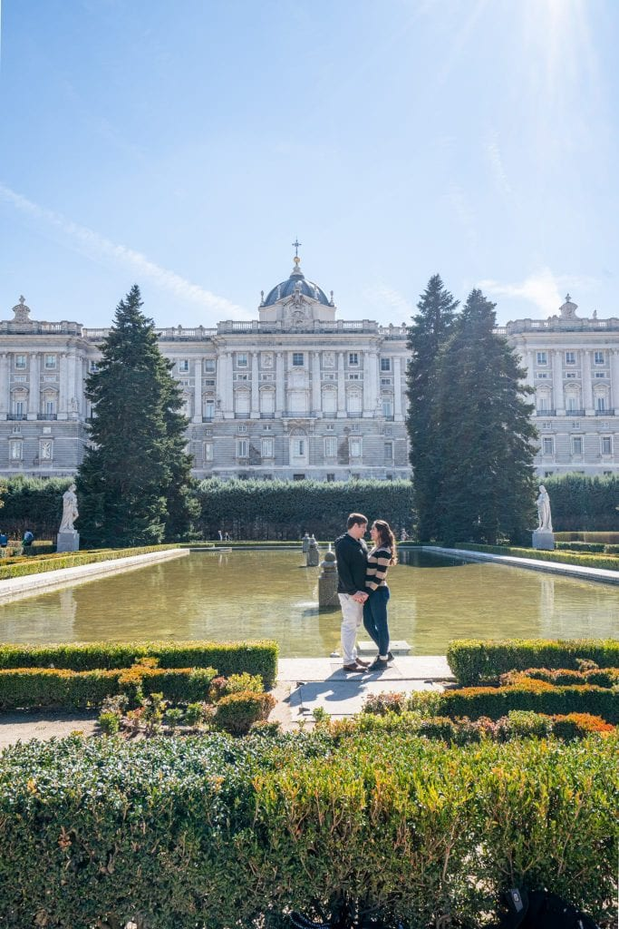 Kate Storm and Jeremy Storm in gardens of Madrid Royal Palace, an excellent stop on any 3 day Madrid itinerary