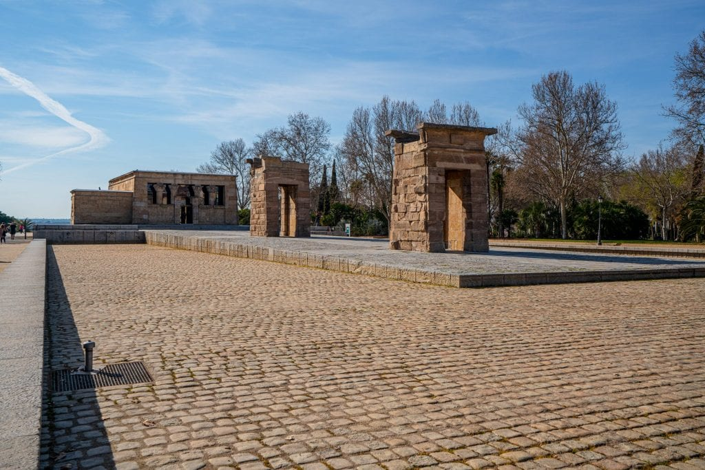 Templo de Debod in Madrid Spain as seen from the corner. Definitely stop here during your few days in Madrid Spain!