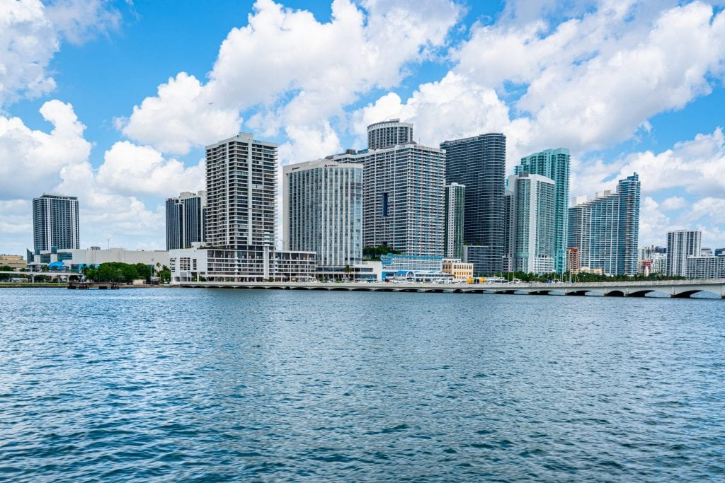A piece of the skyline of Downtown Miami, as seen from the water.