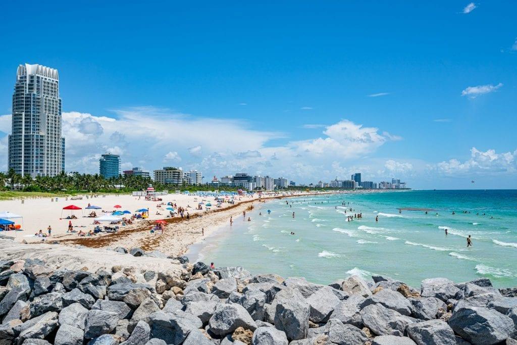 South Beach, as seen from the South Pointe Park Pier in Miami Beach.