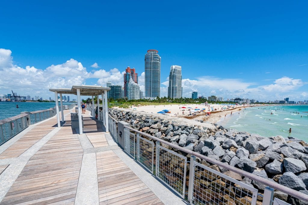 South Pointe Pier in Miami Beach, with view of downtown on the far left and South Beach on the right--definitely visit during your 3 days in Miami!