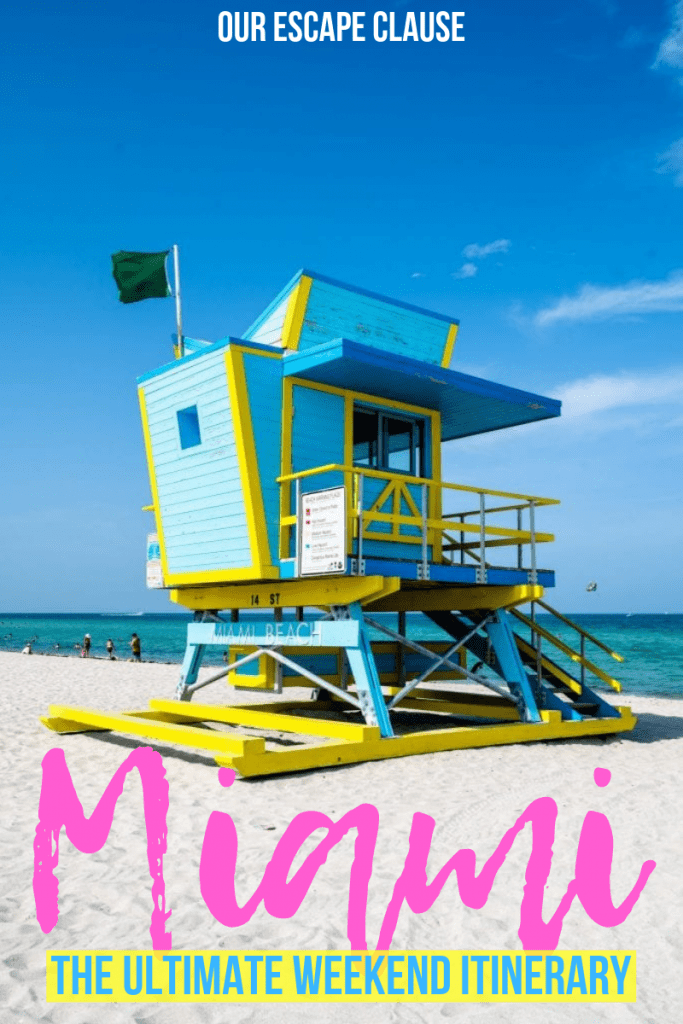 """Photo of blue and yellow art deco lifeguard stand in Miami. There's text on the image which reads """"Miami: the ultimate weekend itinerary"""" in pink and blue."""