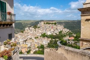 Ragusa Ilba as seen from above in the Val di Noto, a must-see place during a Sicily road trip itinerary