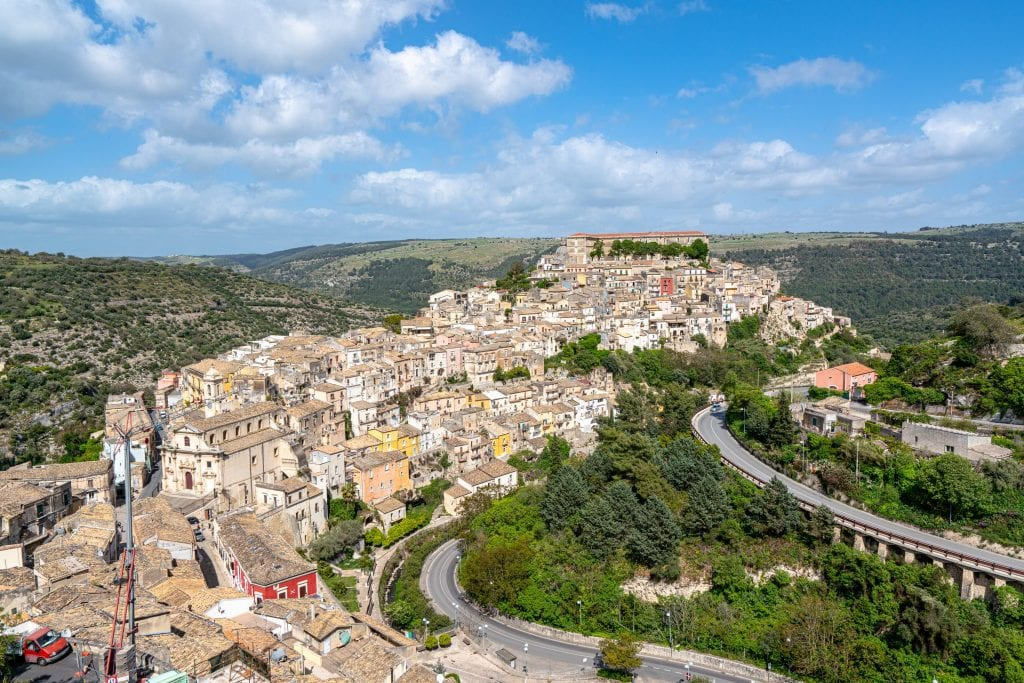 Ragusa Ilba in Sicily as seen from above--one of the Baroque towns that make up a UNESCO World Heritage Site on the island and are full of interesting facts about Sicily