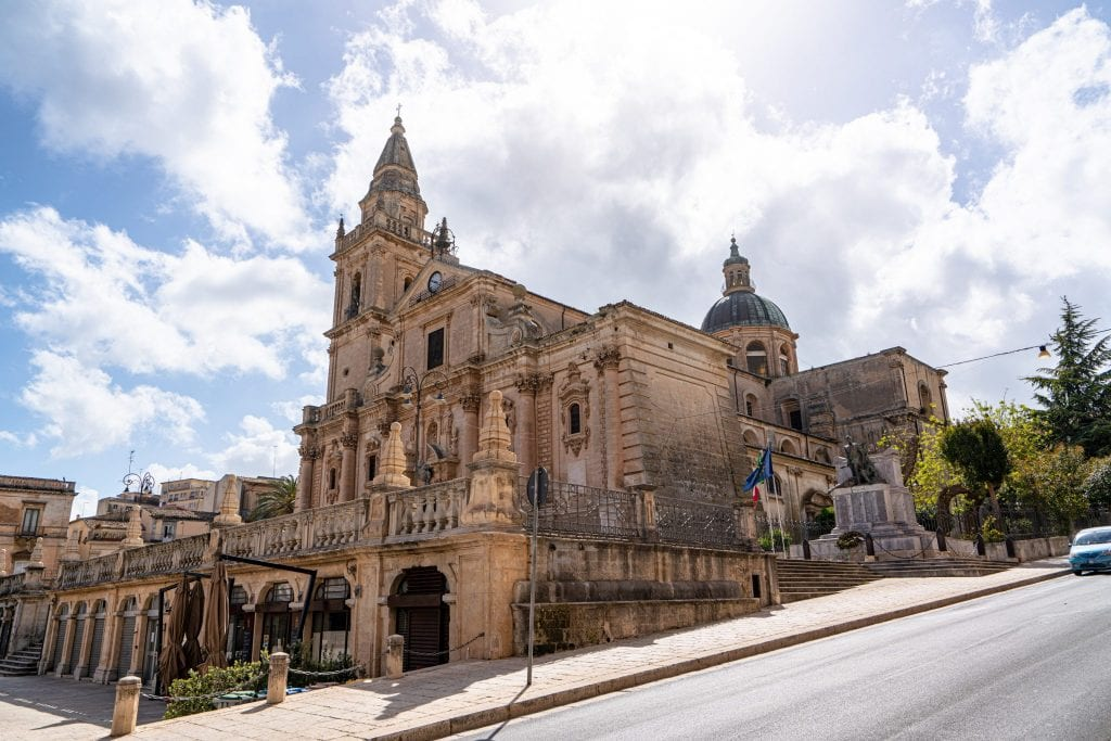 Church in Ragusa Sicily set on a steep hill as seen during a Sicily travel itinerary