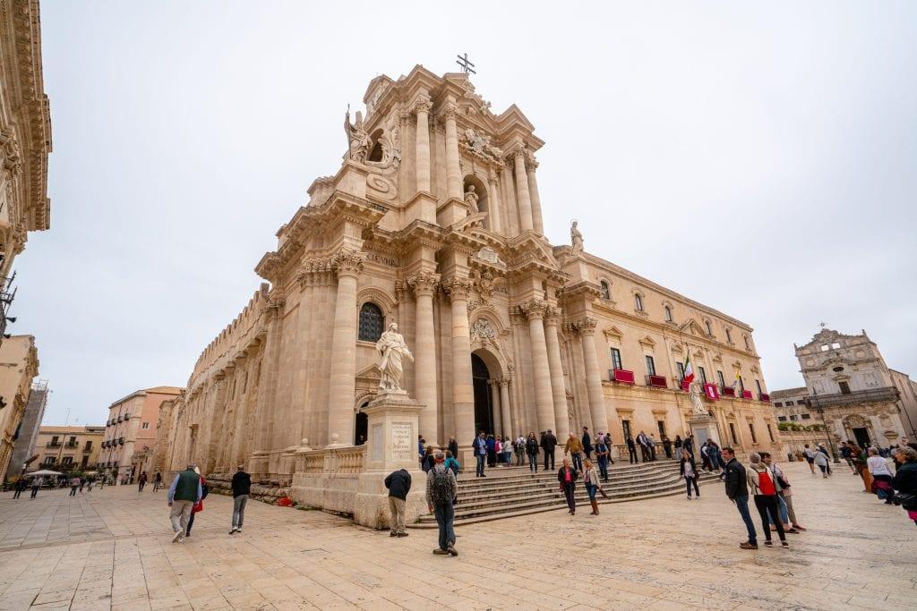 Church on the island of Ortigia in Syracuse Sicily, as seen on a Sicily road trip