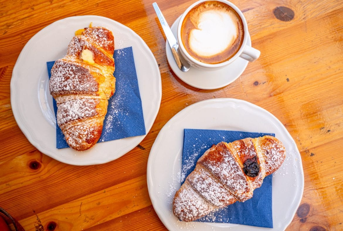 Pastry and cappuccino breakfast in Italy shot from above
