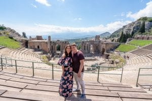 Kate Storm and Jeremy Storm in the Greek Theatre of Taormina Sicily