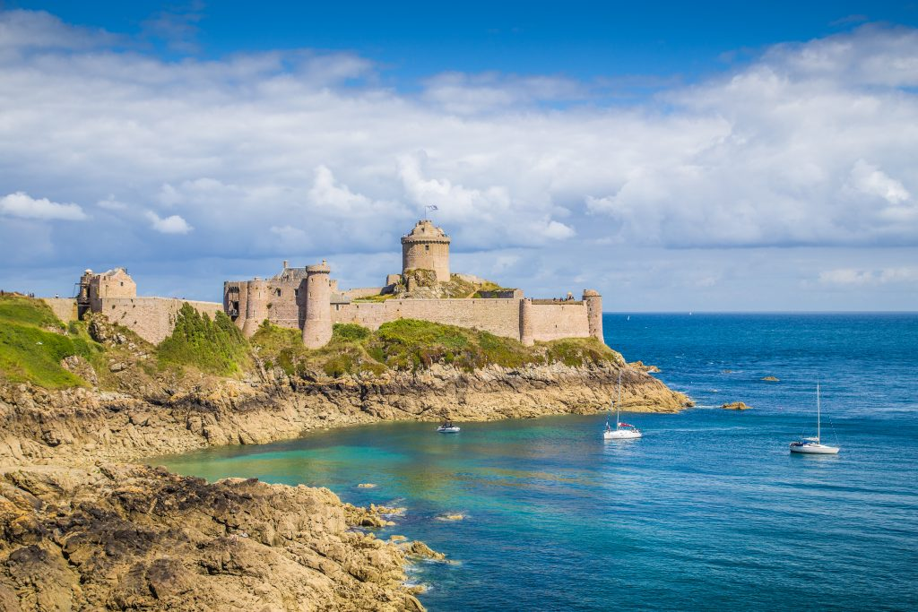 castle ruins of the coast of brittany france near saint-malo