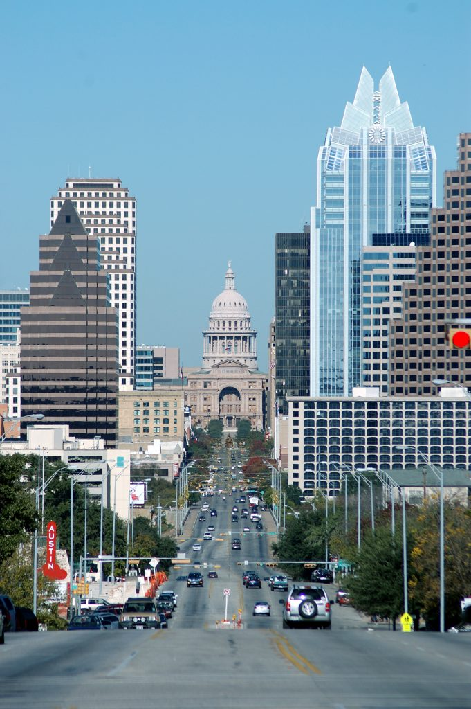 south congress austin texas looking toward the capitol