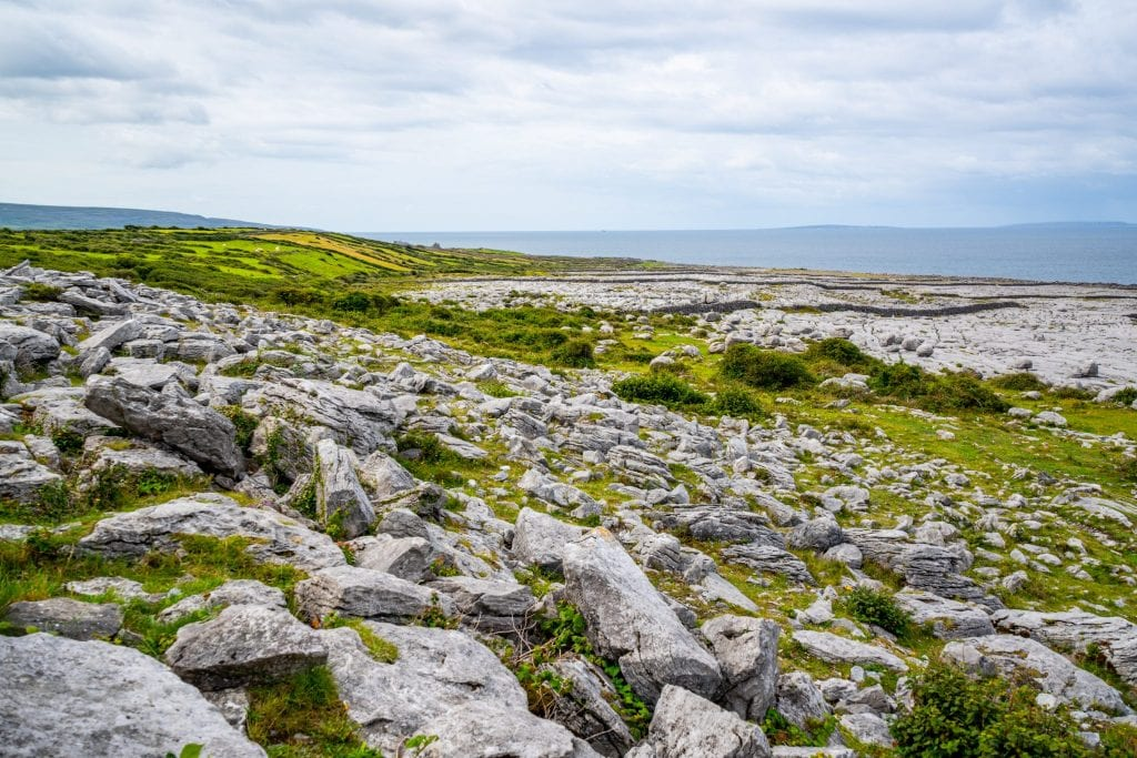 Photo of the rocky landscape of the Burren--add a visit here to your list of things to do in Doolin Ireland!