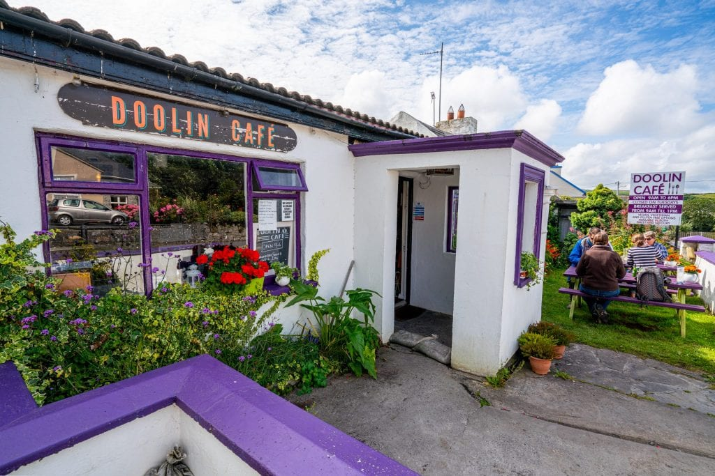 Photo of white and purple exterior of Doolin Cafe