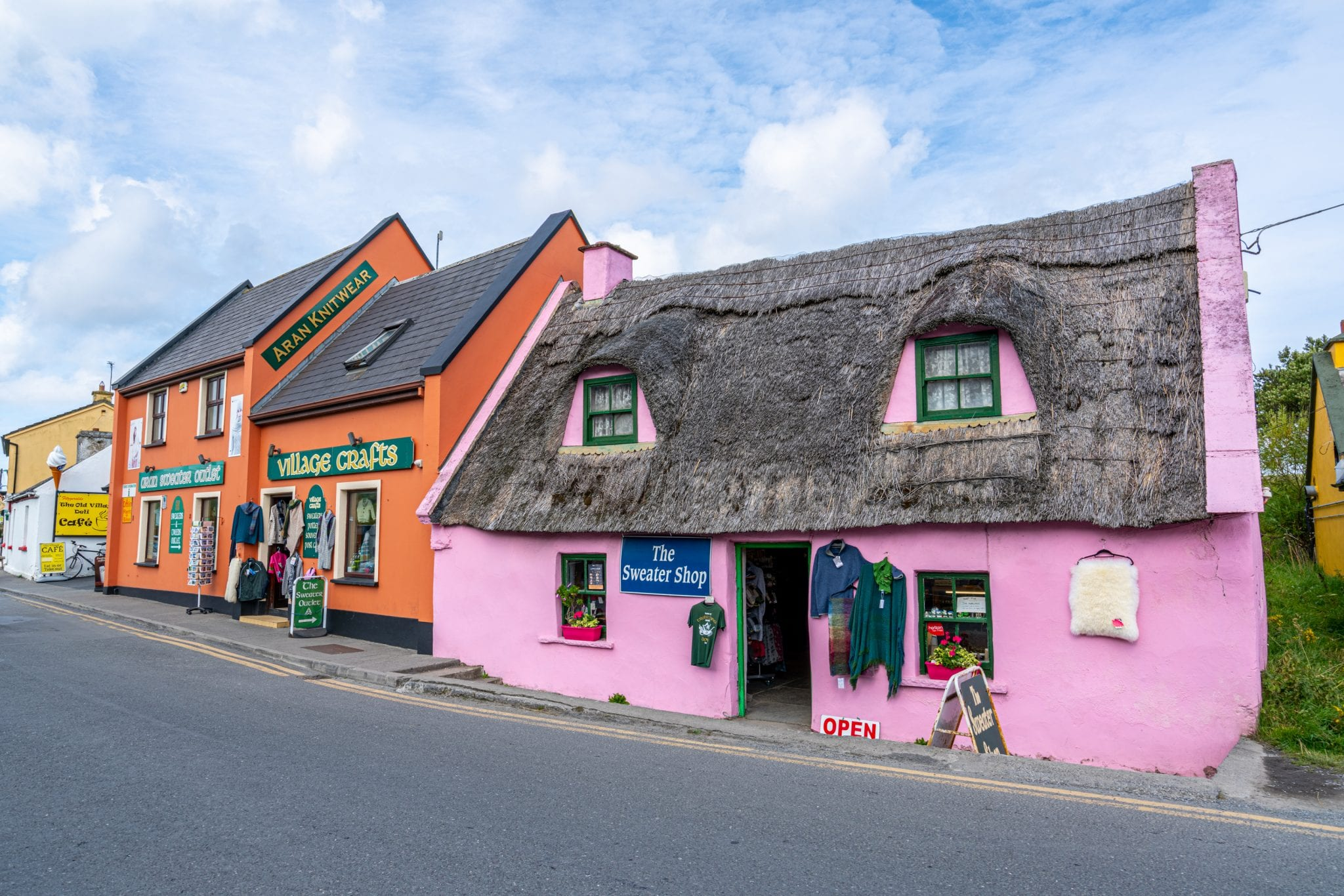 Colorful buildings in Doolin Ireland near the Cliffs of Moher