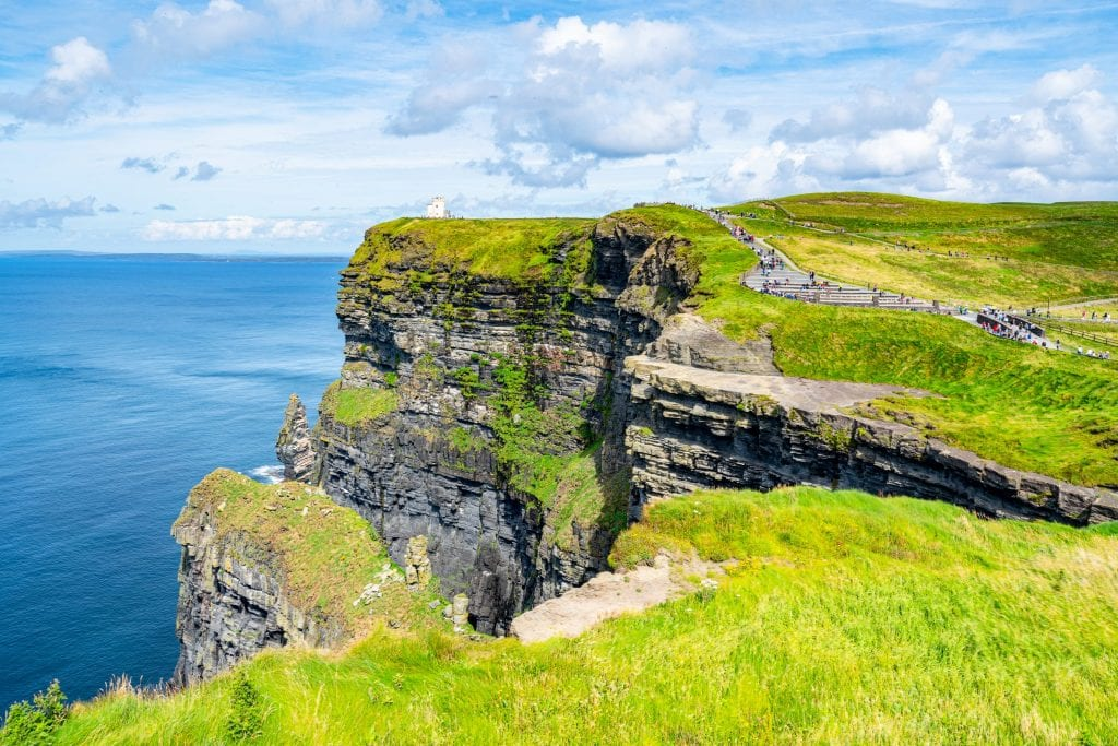 View of O'Brien's Tower at the Cliffs of Moher in Ireland.