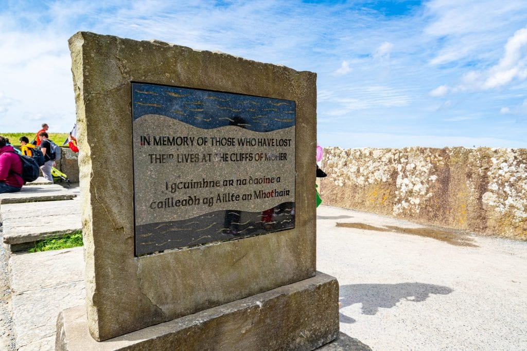 Sign at the Cliffs of Moher memorializing those who have died there.