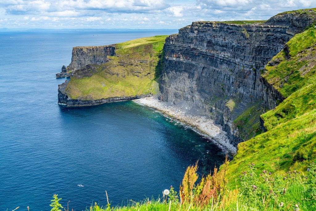 Small beach as seen at the Cliffs of Moher--one of the top day tours from Dublin Ireland!