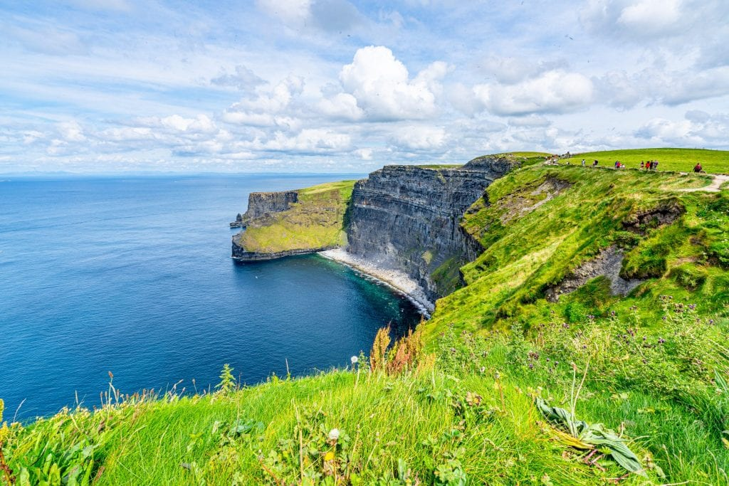 Small beach visible along the Cliffs of Moher in Ireland