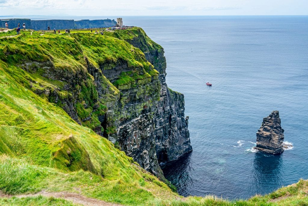 Cliffs of Moher in Ireland with O'Brien's Tower visible on the left and the Stack visible on the right