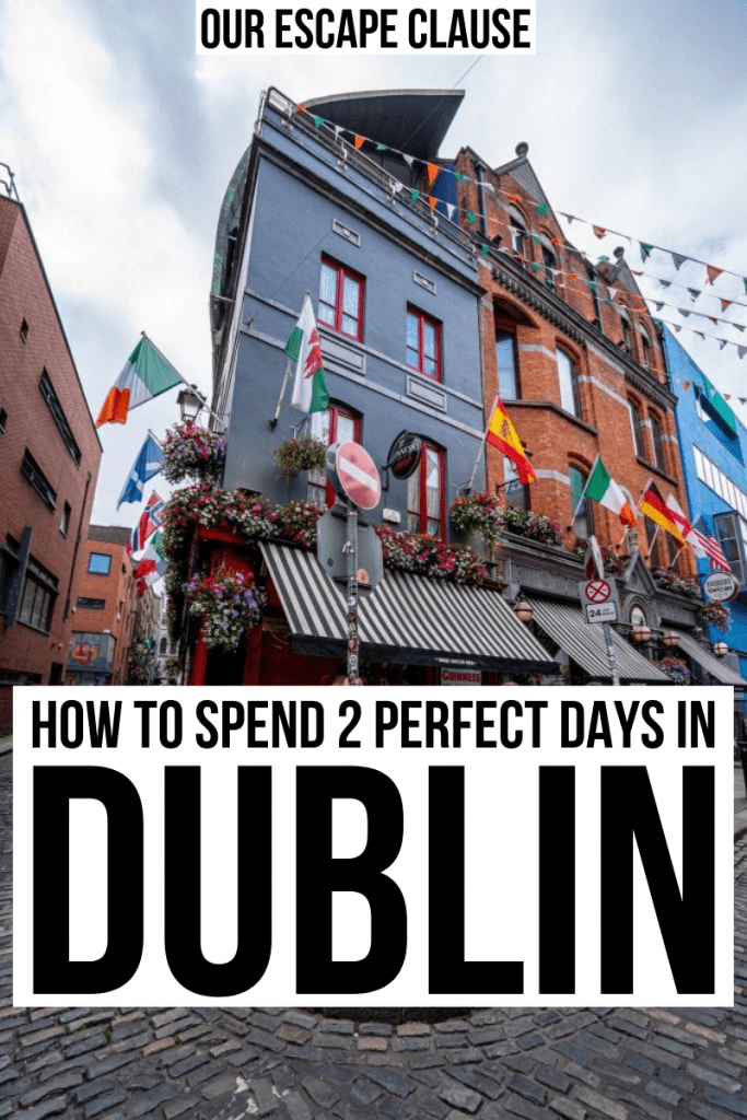 Photo of colorful buildings in Dublin Temple Bar district, black text on white background reads How to Spend 2 Days in Dublin Ireland